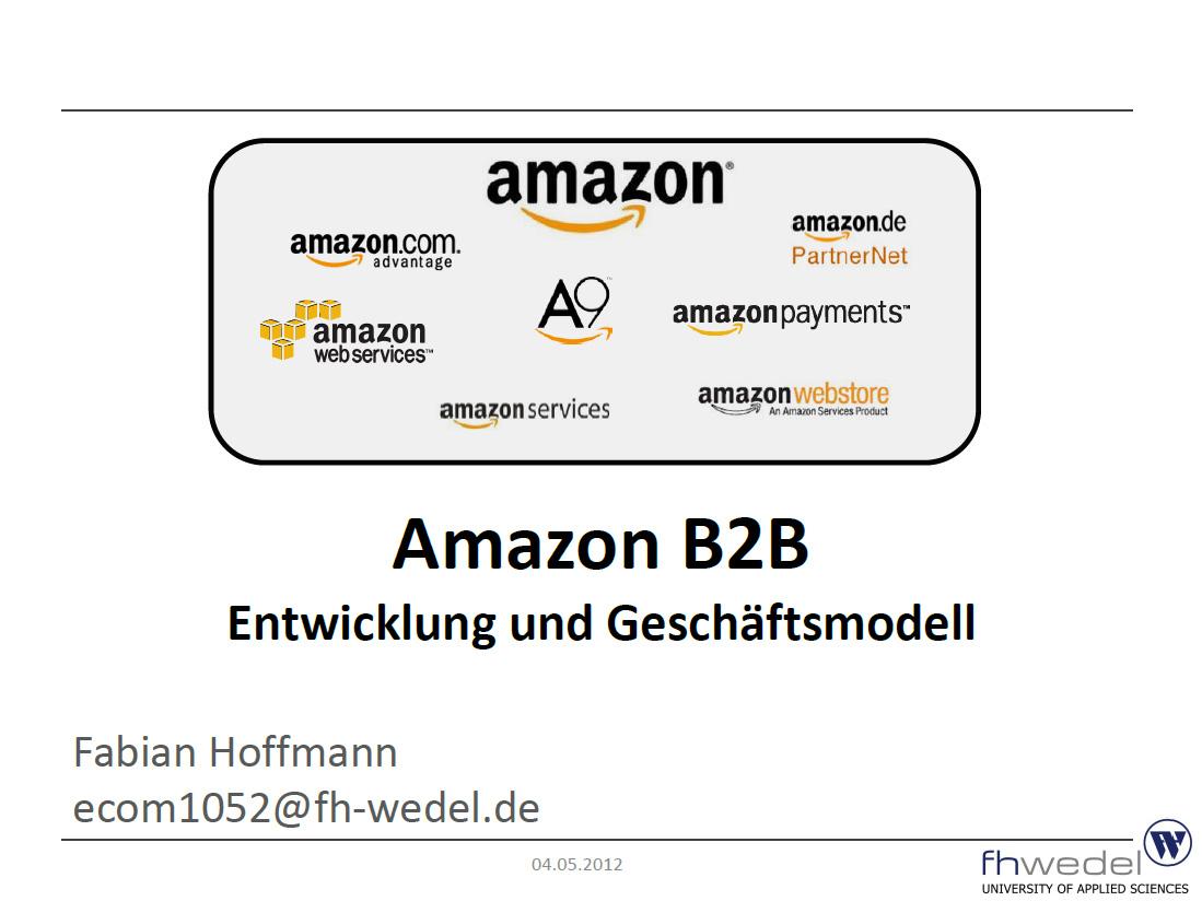 Fabian Hoffmann - Geschäftsmodell Amazon B2B