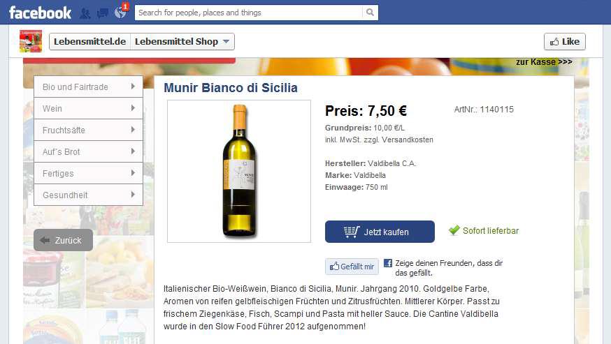 Lebensmittel.de benutzt bereits Facebook als Absatz-Kanal