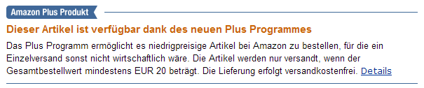 Hinweis Amazon Plus Programm