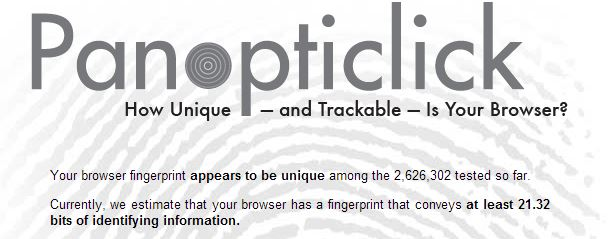 Panoticlick Browser Fingerprint Test