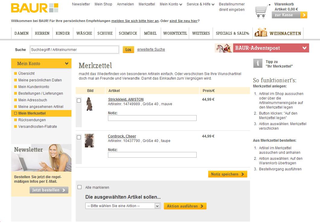 Screenshot BAUR-Merkzettel