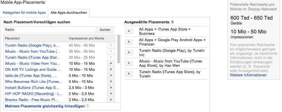 Einstellen der Platzierung in Google AdMob