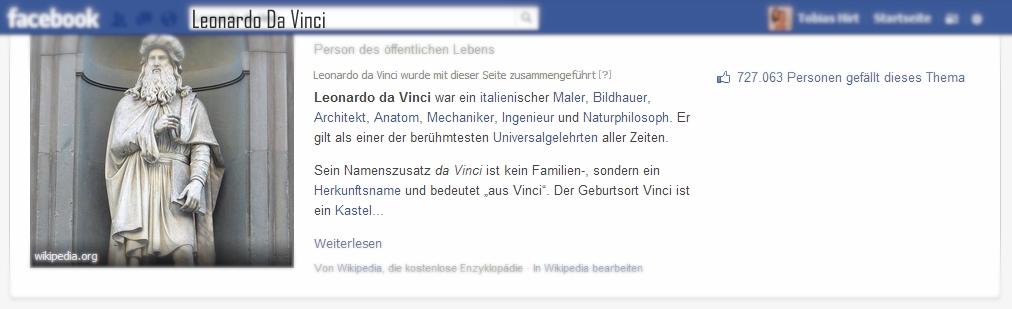 Abb.3: Über die Facebook Suche kann der Nutzer Informationen über bekannte Objekte abrufen