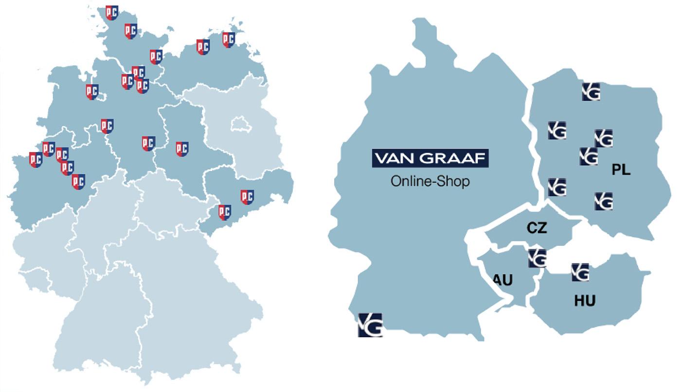 c8cf465367aa48 stationäre Filialen von P C Hamburg und Verbreitung von Van Graaf