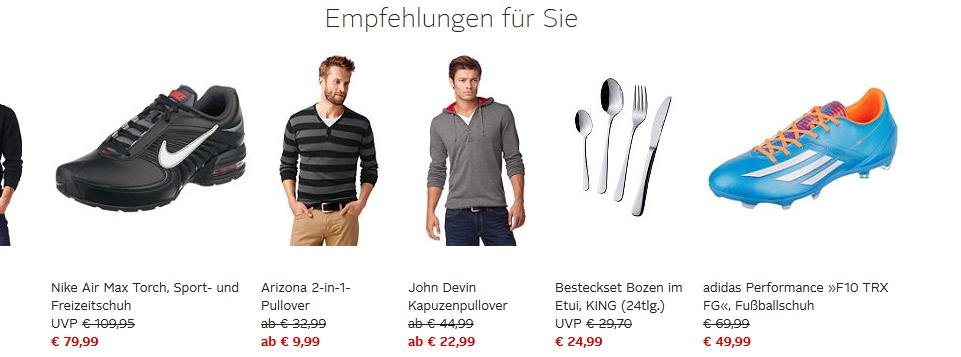 Prudsys-Produktempfehlungen auf otto.de
