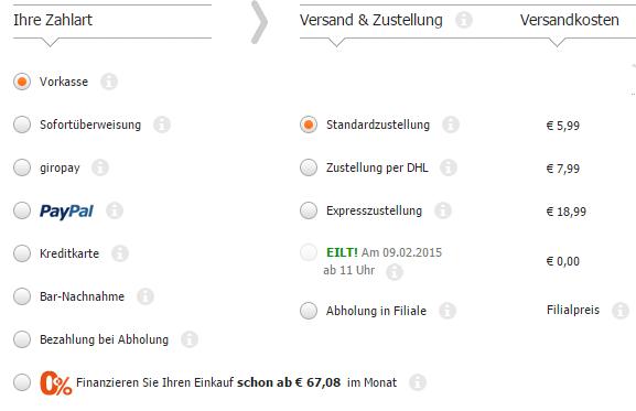 Übersichtlichkeit im Kundenkonto am Beispiel von Cyberport; Quelle: www.cyberport.de