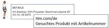 hm.com/de: gesuchtes Produkt