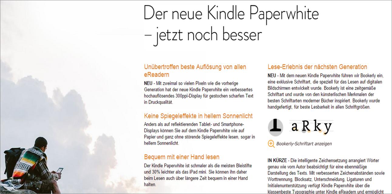 Kindle Paperwhite Produktbeschreibung