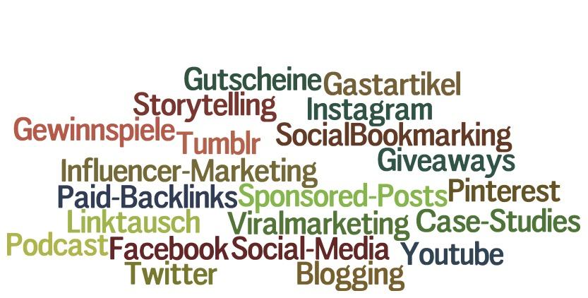Wordcloud mit Ideen zur Backlink Generierung. Eigene Darstellung mit wordle.net