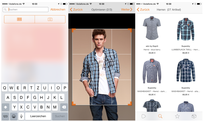 Screenshots der Zalando App mit der Fotosuche