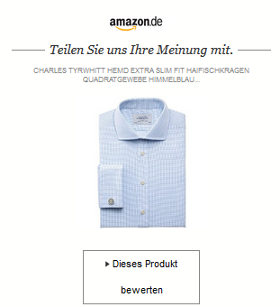 E- Mail Aufforderung Amazons zur Produktbewertung