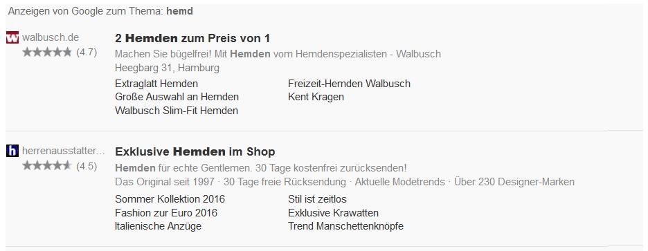 Google Anzeigen auf Suchergebnisseiten von shopping24