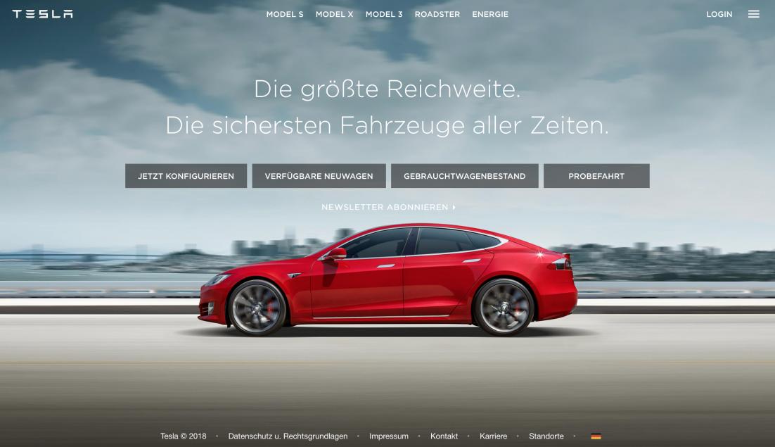 Screenshot der Tesla Startseite